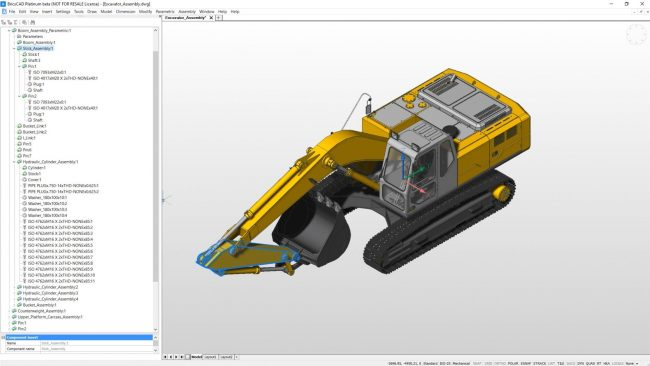 Excavator assembly drawing drawn using bricscad