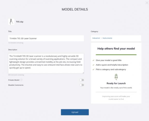 Model details page
