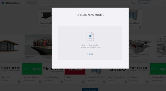 Upload new model pop-up window