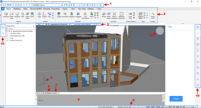 Bricscad ultimate user interface elements