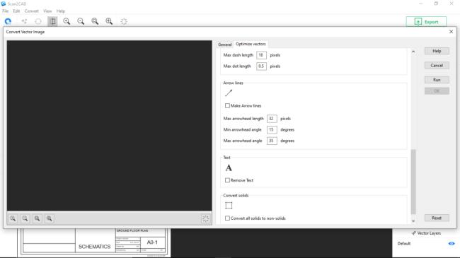 Black and white optimize vectors window